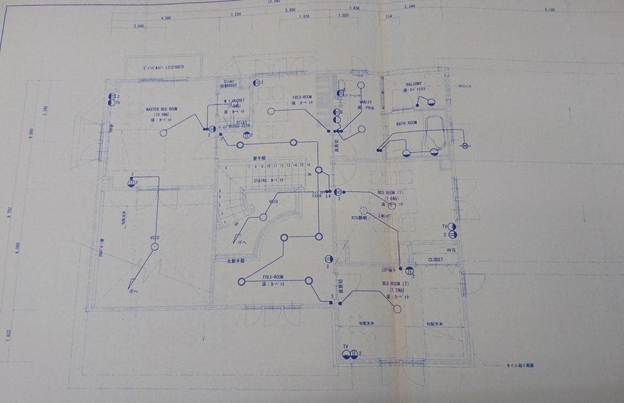 電気配線などを図面上に明記したものです。 今回ご紹介のお宅の間取りとは異なります。